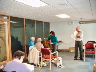Janet & Graeme lead a hands-on session with the visually-impaired readers at Sunderland Library, summer 2012